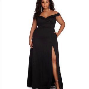Windsor plus size off the shoulder black dress